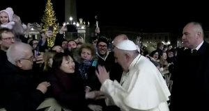 Pope Francis with a woman