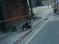Foreigner in Manila's sidewalk