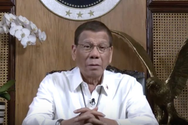 Duterte in a video message