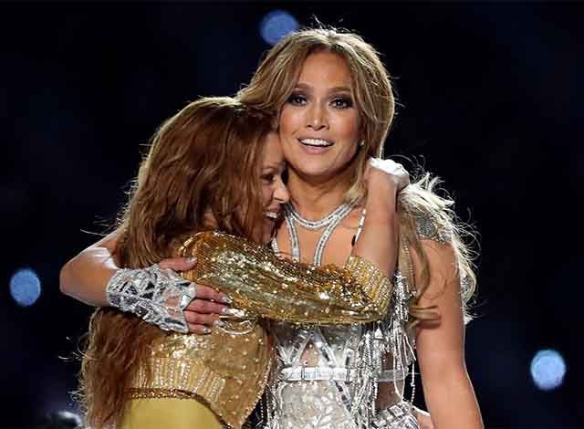 Jennifer Lopez and Shakira perform during the halftime show