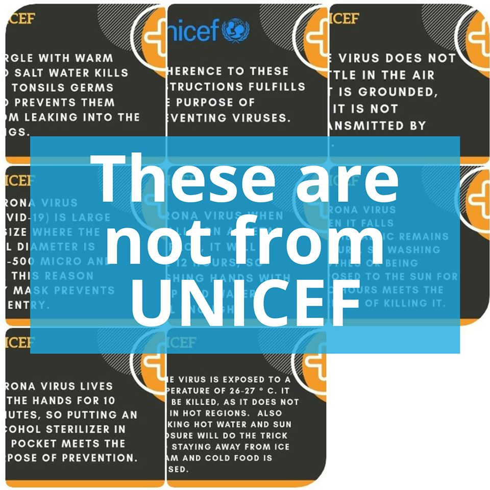 Fake UNICEF posts on COVID-19