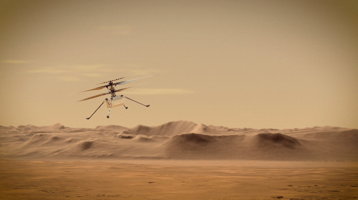 Ingenuity Mars Helicopter flies over Mars