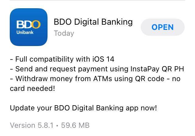 BDO app update