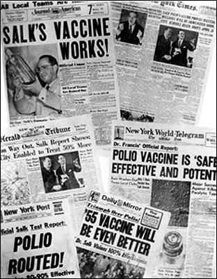 1955 polio vaccine newspaper