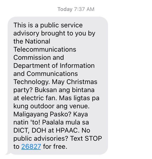 Christmas party text advisory