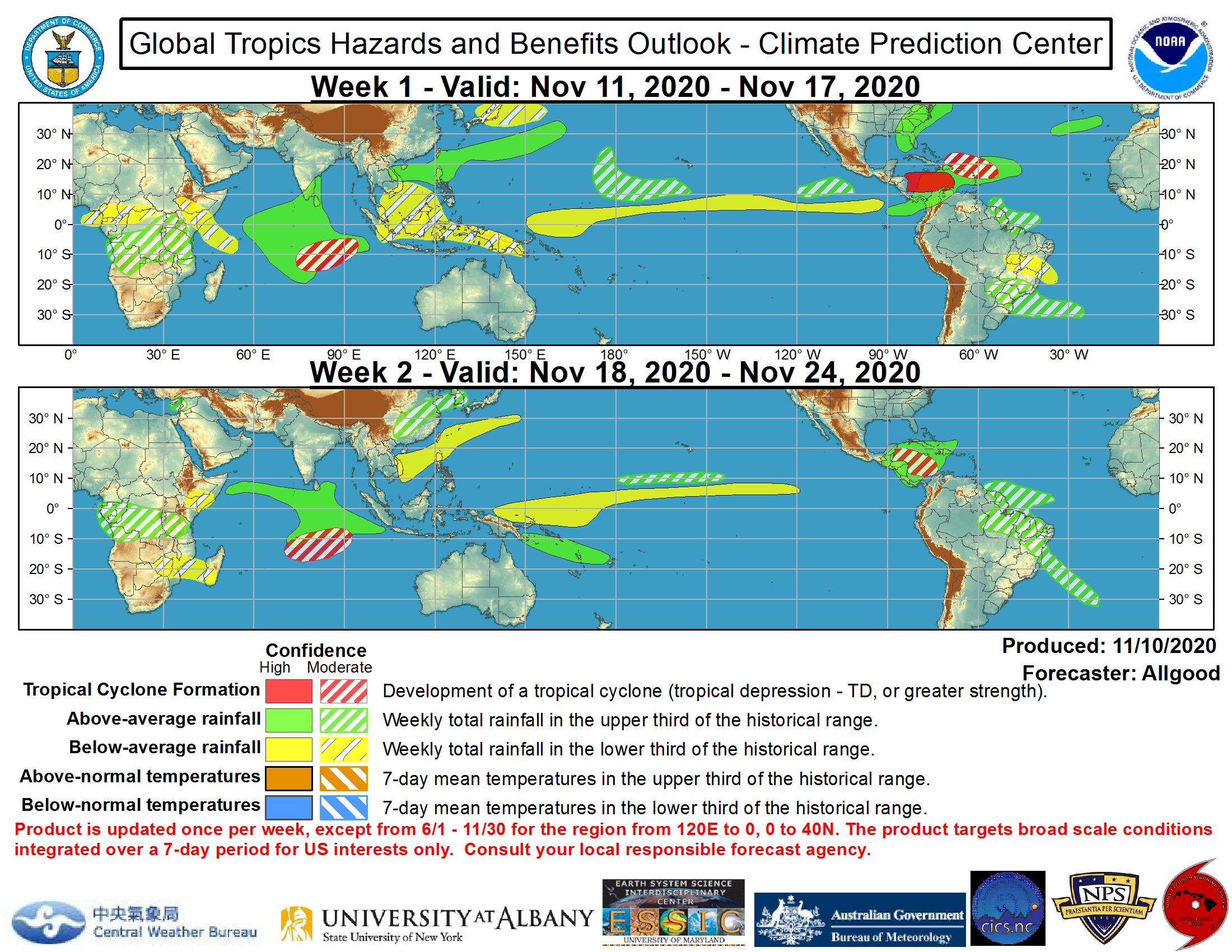 US National Weather Service Prediction Outlook