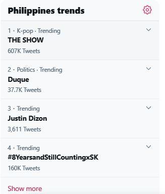 Justin Dizon on trending list