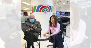 Karen Davila with Bernie Sanders