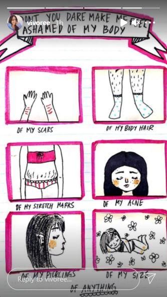 Vivoree IG Story on body shaming