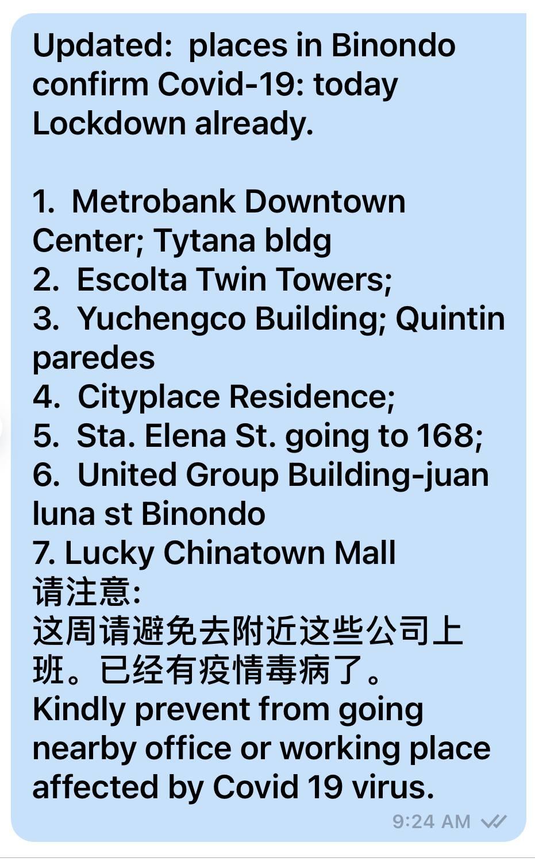 Fake message about Binondo lockdown