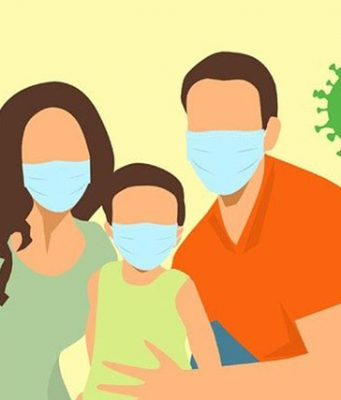 Family with face mask
