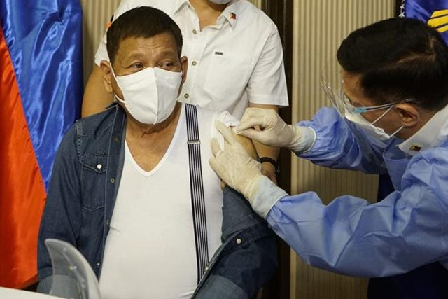 Duterte receives first dose of Sinopharm's COVID-19 vaccine