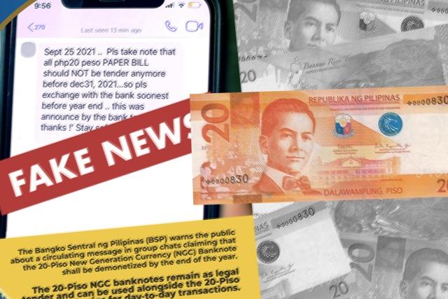 BSP dice que los billetes P20 permanecen como moneda de curso legal en medio de la circulación de mensajes de chat grupales falsos